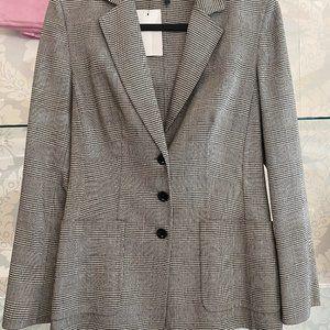 ESCADA Black & White Houndstooth Wool Blend Blazer/Jacket